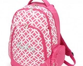 Personalized Pink Quatrafoil Backpack| Monogrammed Hot Pink Quatrafoil Back pack|