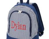 Monogrammed Preschool Navy Stripe Print Backpack| Monogrammed Toddler Navy Pin Stripe Backpack| Preschool Navy Back Pack