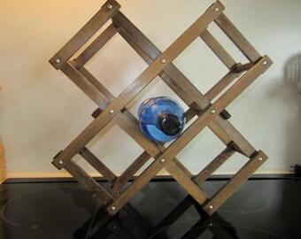Vintage Wine Rack - Wood Collapsible, Expanding, Accordian Wine Rack - Repurpose Towel Rack, Modern, Minimalist, Urban Chic, Boho