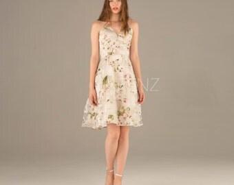 2015 Champagne Bridesmaid dress, Flower Printed Organza Wedding dress, V neck Short Prom dress, A line Party dress knee length (FG219)