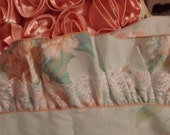 Vintage ruffled top with lace, blue with orangey roses, JP Stevens shabby cottage chic style twin flat sheet