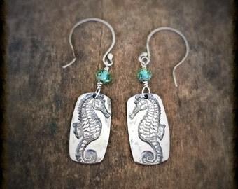 Silver Seahorse Dangle Earrings with Green Beads, Handmade Ocean Beach Jewelry