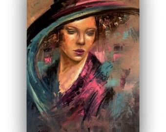 """Original oil portrait painting - Lost in Thought - unique contemporary portrait - rich texture, palette knife painting - 19,7"""" x 27,6"""""""