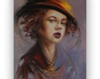 """Original oil portrait painting - Hello Darling - unique contemporary portrait -19,7"""" x 27,6"""""""