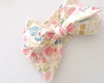 Baby Head wrap / Turban / Headband / Large headwrap / Toddler head wrap / Bow Headband / Guguberry / Nightfall in cream