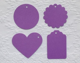 25 WISTERIA PURPLE Heart Scalloped Circle Hang Tag Shape Cardstock Paper Gift Tags