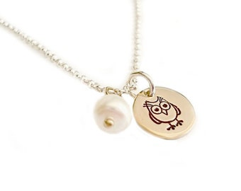 Guess Who Owl Pendant - Handstamped Jewelry in Bronze and Sterling Silver - Ready To Ship