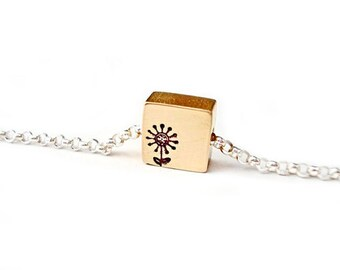 Tiny Square Brass Flower Hand Stamped Necklace