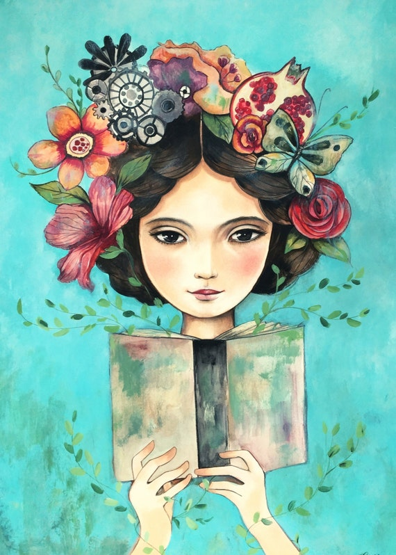 flowers in her hair..Book in her hand