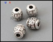 5 Barrel Beads - 6x5mm Antiqued Silver Large Hole 1.7mm Tibetan Style Boho Metal Spacer Beads - USA DIY Wholesale Supplies - 6372