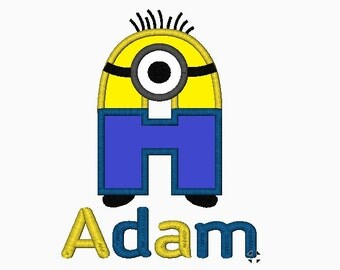 Minion Letter with Name or Number with Name - Embroidered and Appliqued Shirts