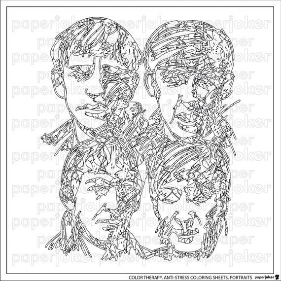 Items Similar To Beatles Adult Coloring Page Anti Stress Color