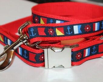 Nautical Dog Collar and Leash Boat Flag Collar and Leash Red Dog Collar Red Dog Leash Nautical Flag Collar and Leash