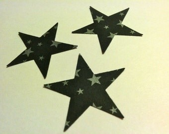 50 pcs BLACK with grey STARS 1.5 inches in size Hand Punched Halloween Die Cuts Confetti, scrapbooking, cards