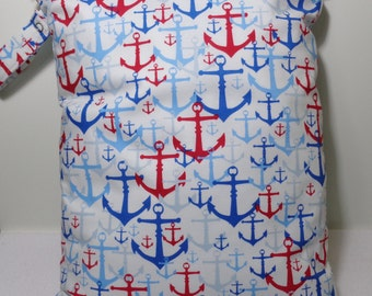 """Large wet bag. 13"""" X 16"""". Anchor print fabric.Heat sealed seams. Ready to Ship"""