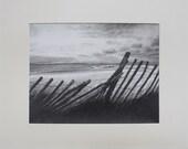 Original Seascape Drawing Graphite - Sunset Waves Fence
