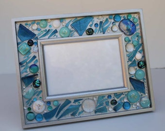 Custom Frame with wedding glass shards, fused glass & dichroic glass, initials, date