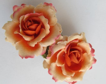 Peach Rose Hair Barrette, One of a Kind, Ready to Ship