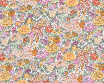 Fat Eighth Elysian W Liberty of London, Classic yellow and pink floral Liberty print