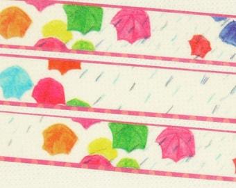 Colorful Umbrella - Japanese Washi Masking Tape - 11 Yards