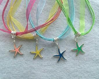 10 Enamel Sea Star Necklace Party Favors