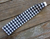 Special order for Mary / Black and White Gingham cotton Headband check plaid