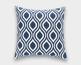 Navy Blue Throw Pillow Cover. Choose from 12 Sizes. Premier Navy Nicole Decorative Pillow. Cushion Cover