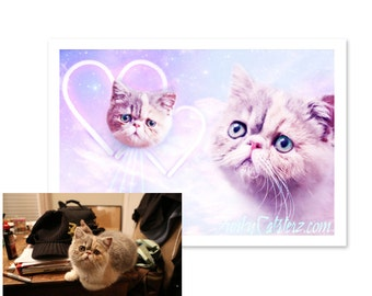Custom Pet Art - Personalized Cat Artwork 8x10 Print Space Cats Laser Cats Dogs Pet Kawaii Pastel Gift