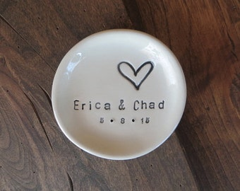 ring dish, wedding ring holder, engagement gift, Personalized dish, handmade earthenware pottery, Made to order