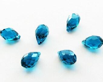 London Blue Crystal Briolettes 13mm - 6 pcs