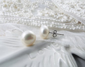 Pearl Stud Earrings Sterling Silver Pearls Jewelry Gifts for her