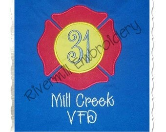 Applique Firefighter Maltese Cross Machine Embroidery Design - 4 Sizes