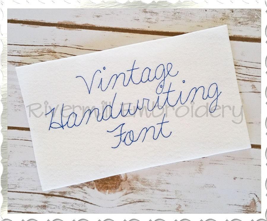 Vintage handwriting machine embroidery font monogram alphabet