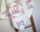 Modern Baby Quilt - Girl quilt - toddler blanket, patchwork throw - Tanya Whelan Dolce - pink, orange, blue