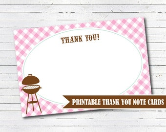BBQ Baby Shower Thank You Cards - Bbq Baby Shower Decorations - Girl Baby Shower - BabyQ Decorations - INSTANT DOWNLOAD