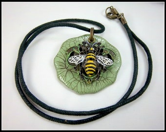 Bee Necklace, Metal Bee, Polymer Clay, Green Yellow, Painted Bee, Bee Lover, Black Cord, Mixed Media
