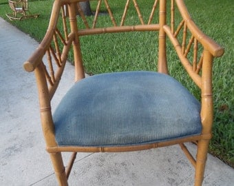 LOW AND FAUX / Faux Bamboo Office Chair / Angled Bamboo Detailing / Hollywood Regency / Palm Beach Chic
