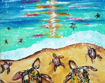 sea turtle poster, art, nautical, underwater,sea art,ocean art,ocean paintings,fine art,seascapes, baby turtles,leatherback,gulf coast