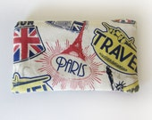 Zippered Coin Purse with Travel Print and Card Slot