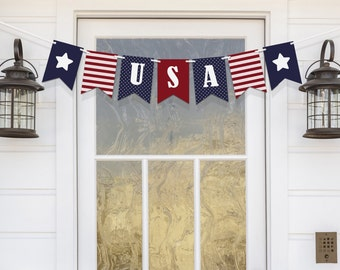 4th of July Banner July 4th USA Banner Felt Banner Red White and Blue Fabric Banner Fourth of July Bunting July 4th Decoration Memorial Day