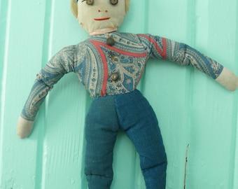 Vintage Leprechaun Stuffed Primitive Rag Doll Handmade 1930s Art Deco Pixie Troll Man Blue Folkart Country Cottage Farmhouse Chic