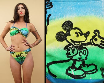 80s 90s Vtg Ombre MICKEY MOUSE 2 Piece Bikini Swimsuit / Halter Bandeau Bralet + Bottoms Matching Set / Sm - Medium