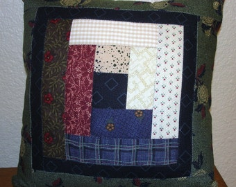 SCRAPPY LOG CABIN Quilted Accent pillow 9 inch square