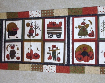 FALL FROLIC pumpkin quilted table runner measures 17 by 72 inches free shipping in the USA