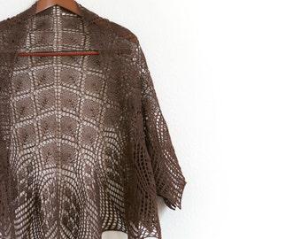 Knit shawl, knit lace shawl, lace shawl in coffee color, wool shawl, gift for her, wedding shawl, bridesmaids shawl