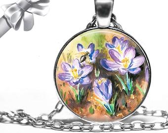 Purple Crocus Flowers Necklace Pendant - Choose Size