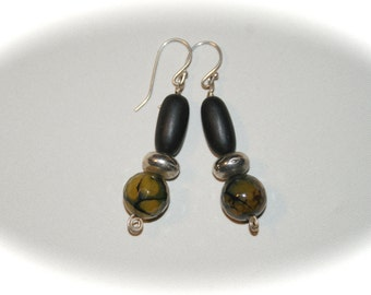 Jet and Olive Fire Agate Earings