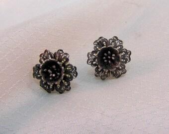 Sterling Filligree Flower Earrings