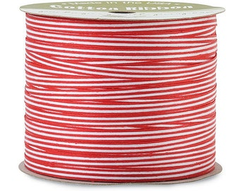 "50yds x 3/16"" Red & White Stripe Cotton Curling Ribbon Natural Eco-Friendly (Free Shipping!)"