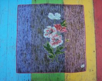 Vtg. Hand Printed Hanky, Colette Pink Floral MWT